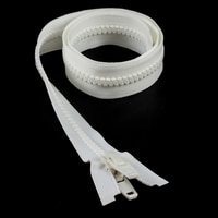 "Thumbnail Image for YKK® VISLON® #10 Separating Zipper Automatic Lock Double Pull Plastic Slider #VFUVOL107TX 36"" White"