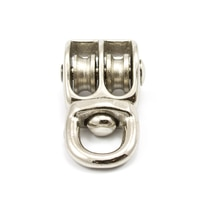 Thumbnail Image for Pulley Cast Iron Nickel Plated Double Swivel Eye Steel Sheave #4/0 1/8