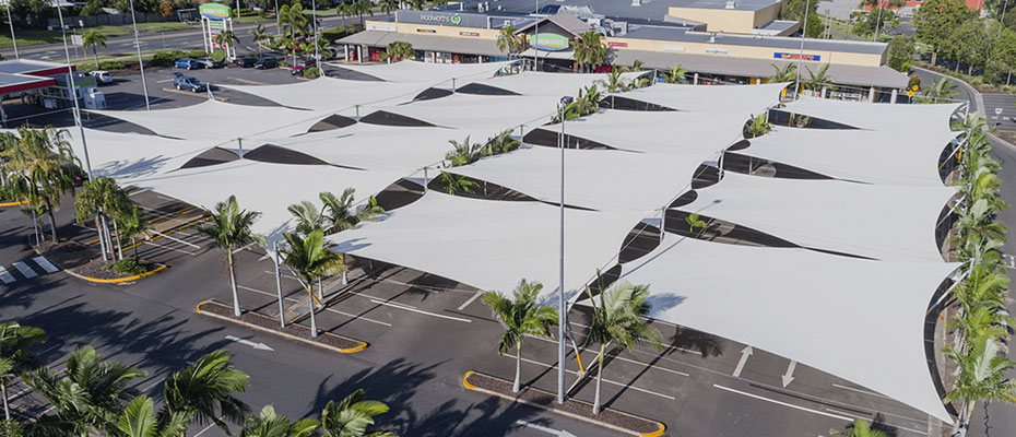 Heavy shade sails over parking lot
