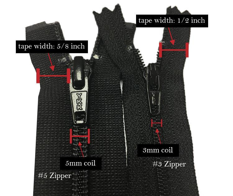 zipper tape width