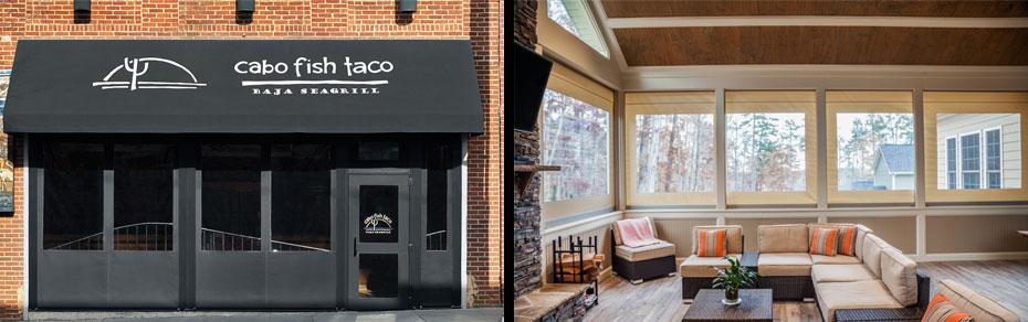 restaurant patio and indoor porch
