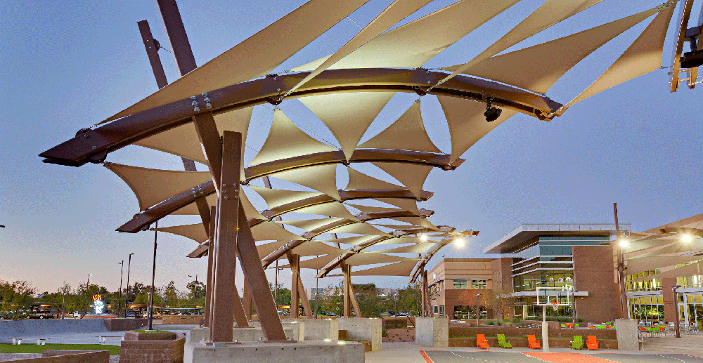 shade sails outside basketball court