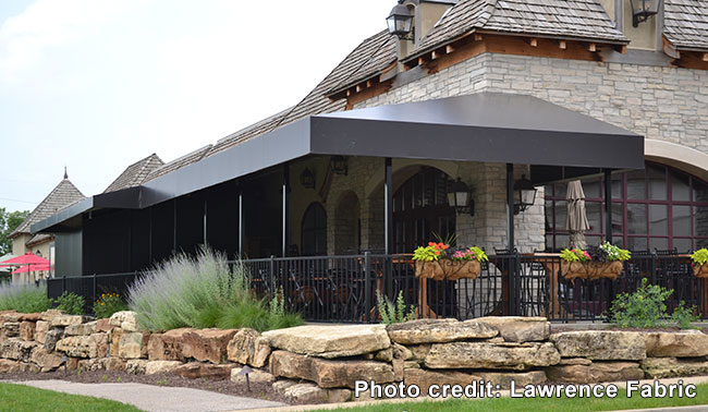 awning over covered porch