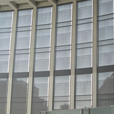 office building with screening