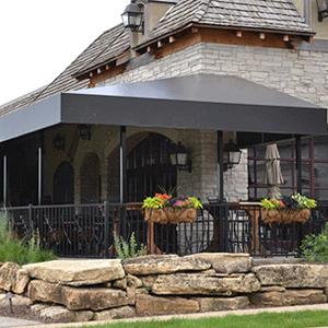 black awning on house